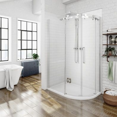 Luxury 8mm frameless sliding offset quadrant shower