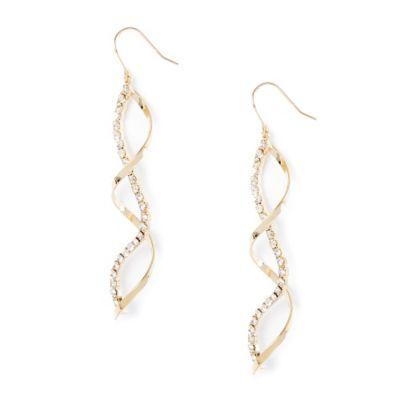 Rhinestone and Metal Spiral Twist Drop Earrings
