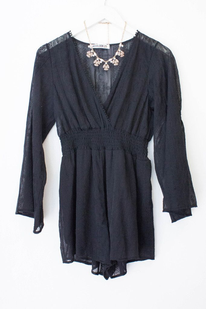 LAUREL EMBROIDERED ROMPER - BLACK