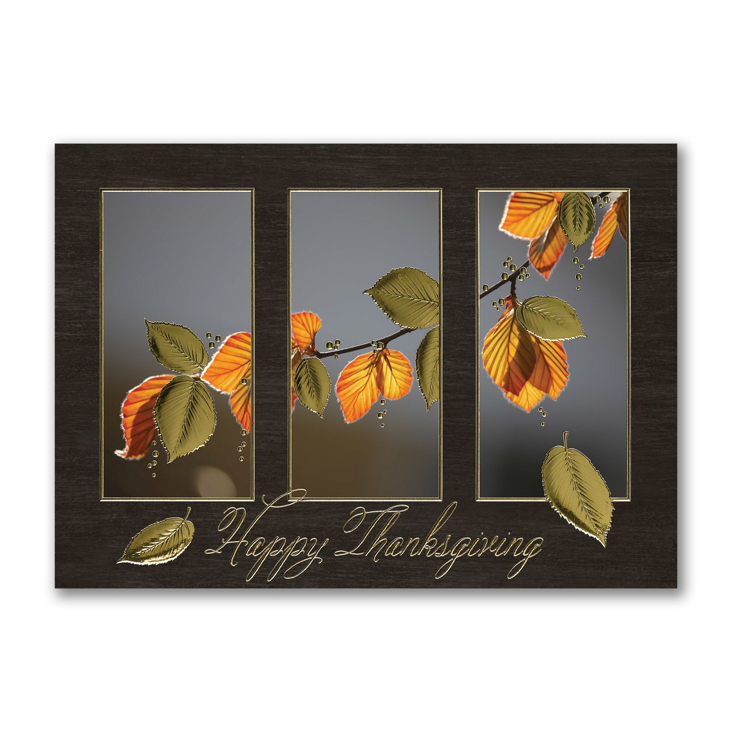 Happy Thanksgiving Leaves Custom Printed Thanksgiving Greetings