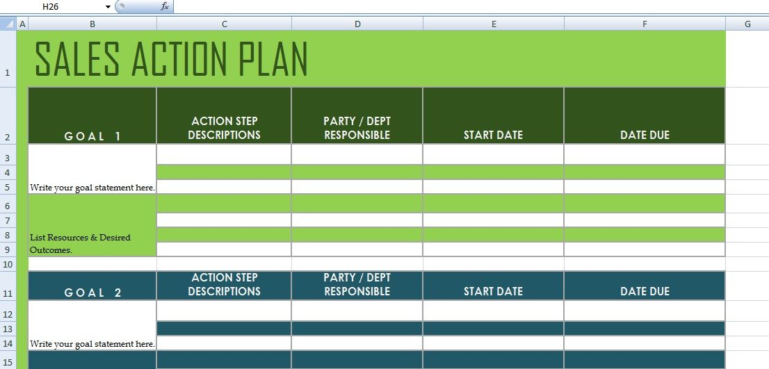 Exceptional Get Sales Action Plan Template XLS
