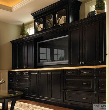KraftMaid Cabinetry Vintage Onyx Entertainment Center transitional media storage