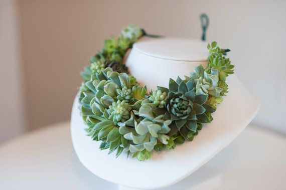 Stunning statement necklace made of live succulents for weddings or special events. on Etsy, $288.00