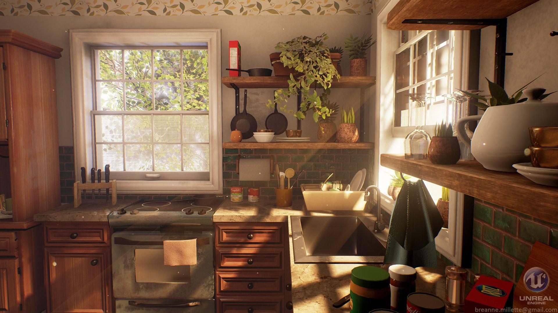 Artstation Cozy Kitchen Breanne Millette Cozy Kitchen Wooden Cabinets Kitchen Interior
