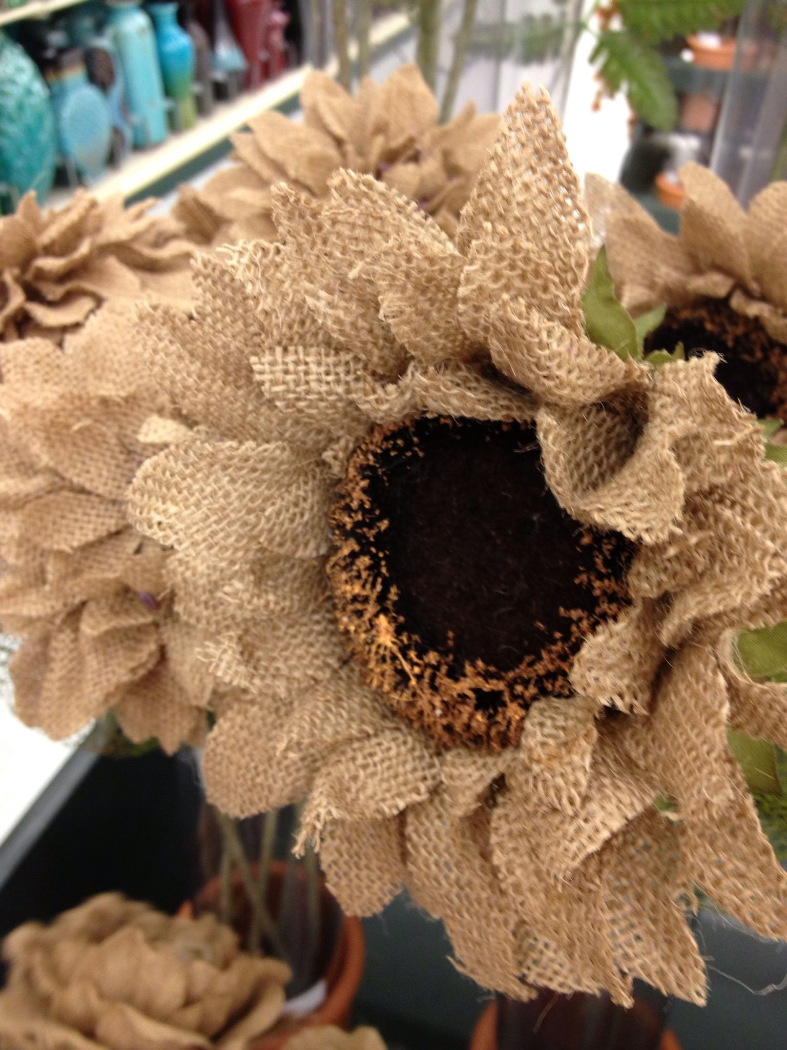 Burlap flowers at hobby lobby channeling martha stewart for How to make hessian flowers
