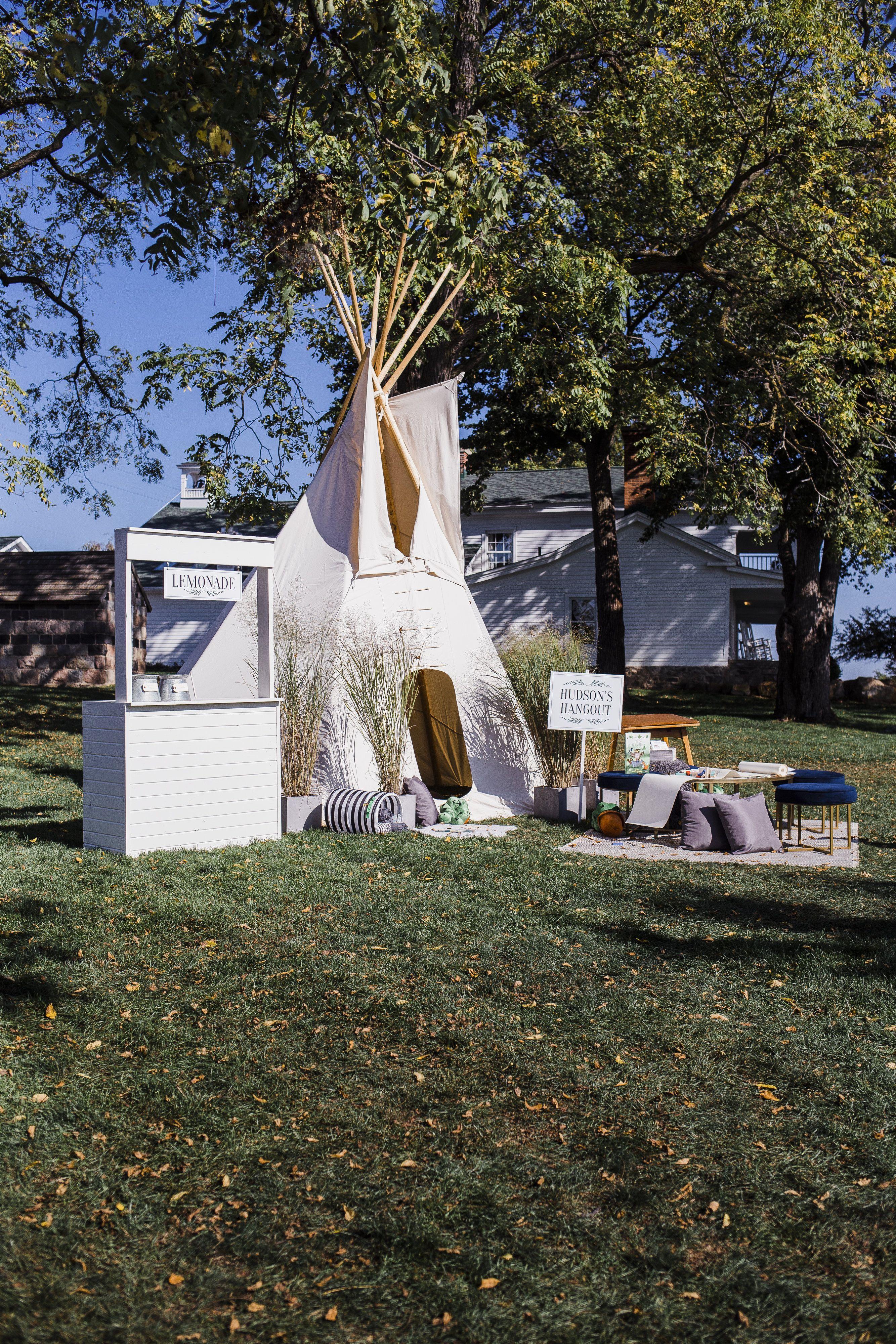 Creative kids area at farm wedding Michigan wedding
