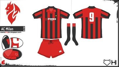 cheap for discount be077 c89dc AC Milan home kit (with red shorts) for 1981-82. | 1980s ...