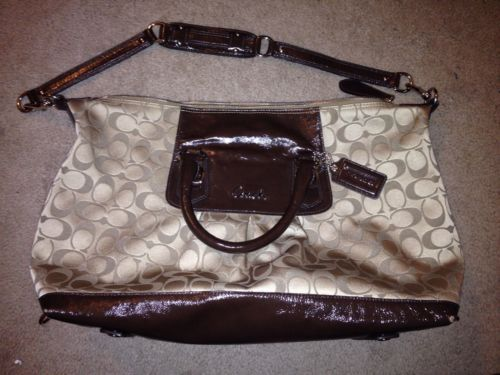 NWT COACH MADISON SOPHIA SATCHEL KHAKI/CHOCOLATE TRIM