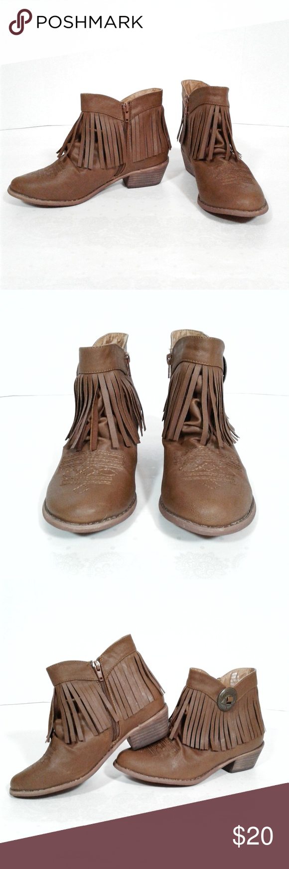 72f59d0bff3 Comfortview Brown Western Fringe Ankle Boots These boots are so cute and  right on trend for