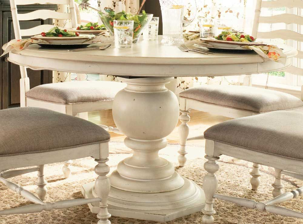 Really Love This Paula Deen Linen Round Pedestal Table (UF 996655). I  Especially Like How There Are No Claw Feet Interfering With Chair Placement.