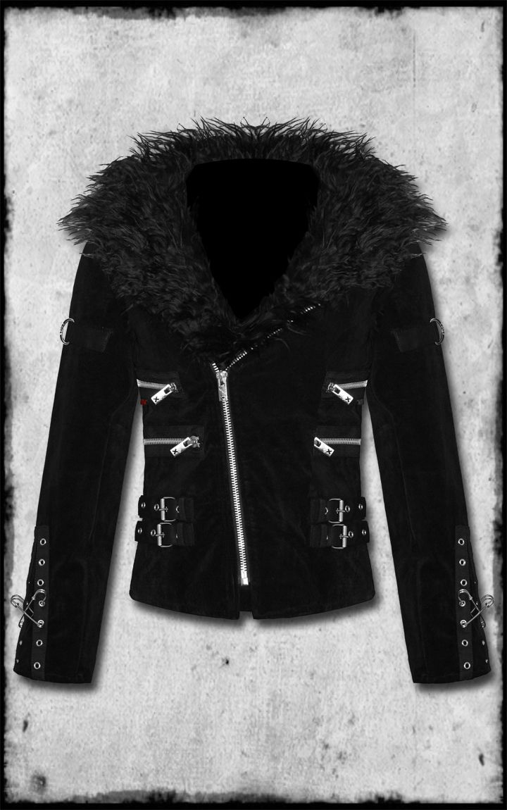 Velvet and Faux fur Coat From Hot Topic