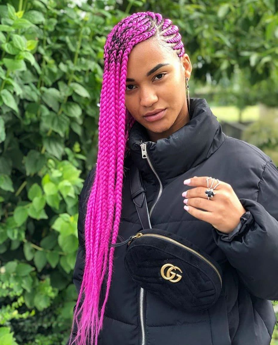 You can never go wrong with pink braids  #picnotourwork . We are almost fully booked for December send us a dm to get hooked up with a braider #enibraidscare # pink cornrows Braids # pink cornrows Braids