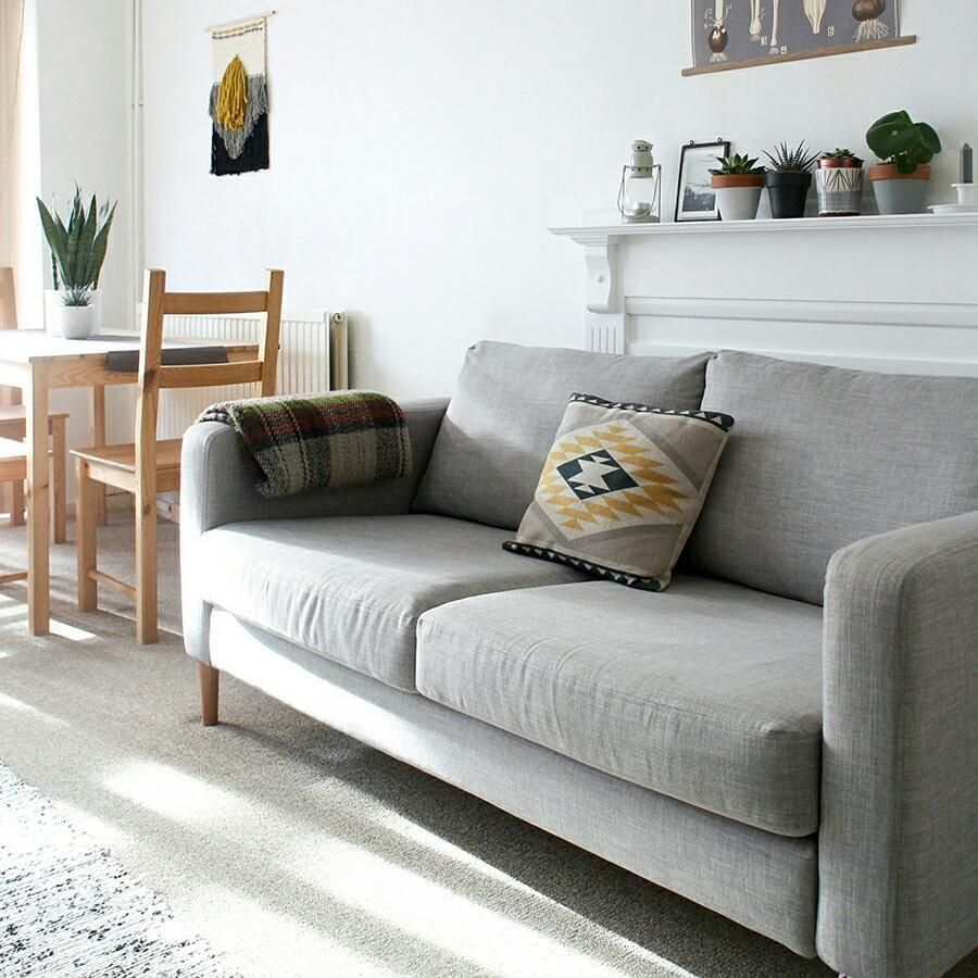Ikea Karlstad Sofa With New Fabric And Hacked Legs Ikea Karlstad Sofa Custom Sofa Slipcovers Living Room Decor Apartment