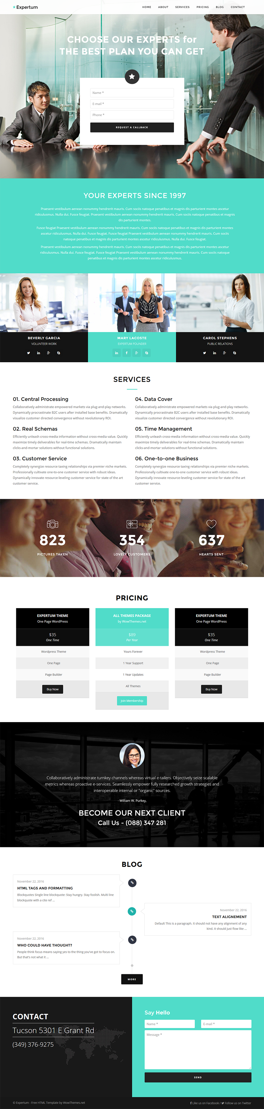Free Bootstrap HTML Website Template - Expertum - GraphicArmy ...