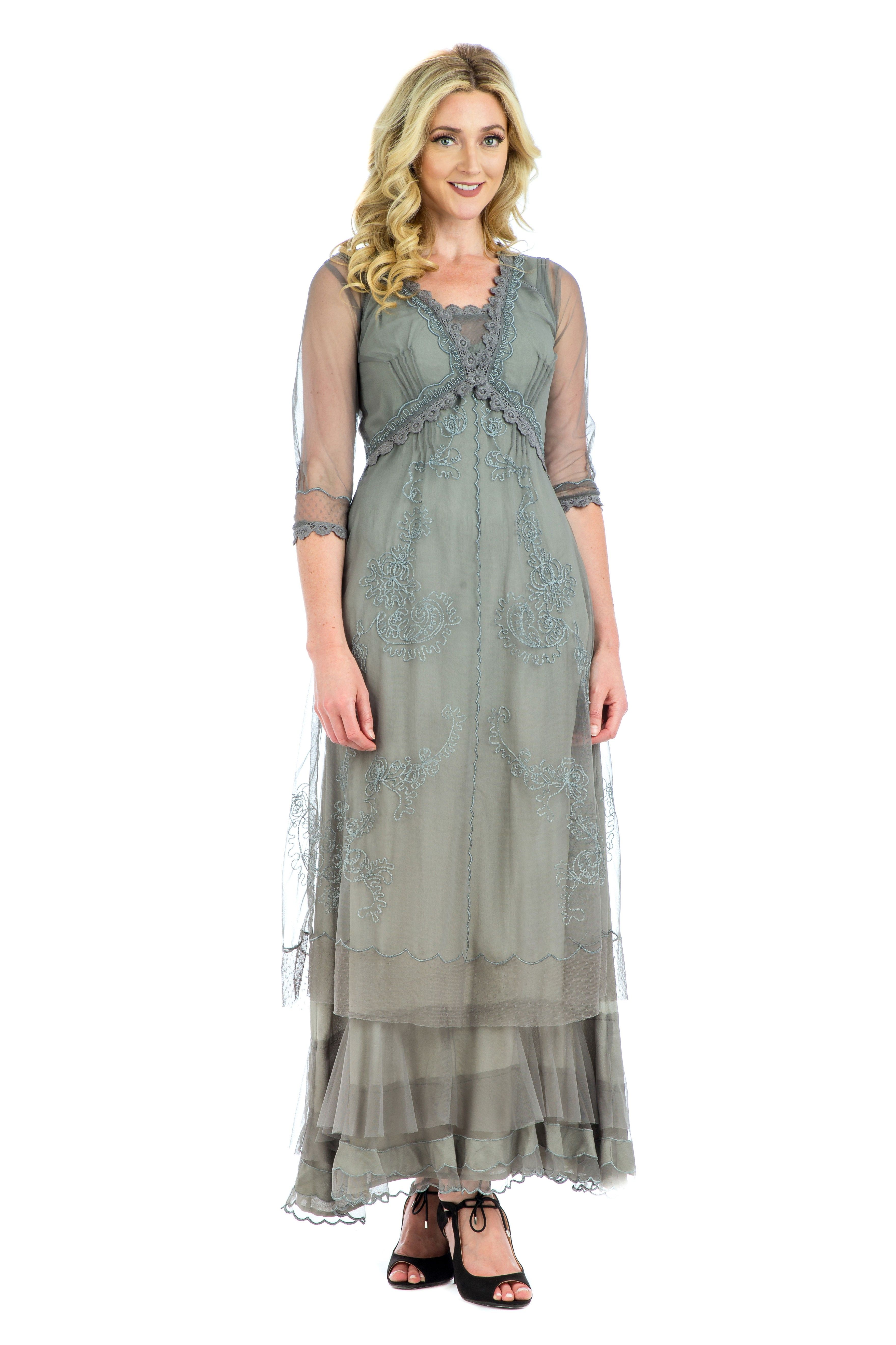 Audrey Vintage Style Party Gown in Smoke by Nataya | Pinterest
