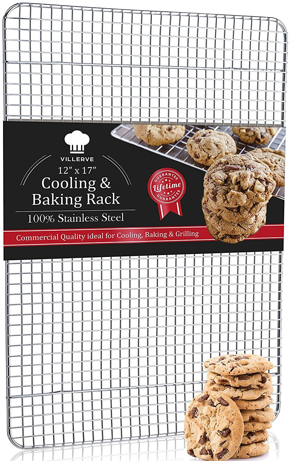Villerve 100 Stainless Steel Cooling Rack Oven Safe For Baking 12 X 17 Fits Half Sheet Pan Strengthened Wire