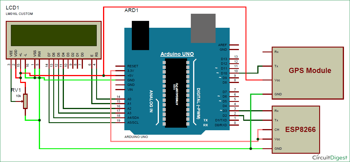 Vehicle Tracking System using Google Maps circuitdiagram Arduino