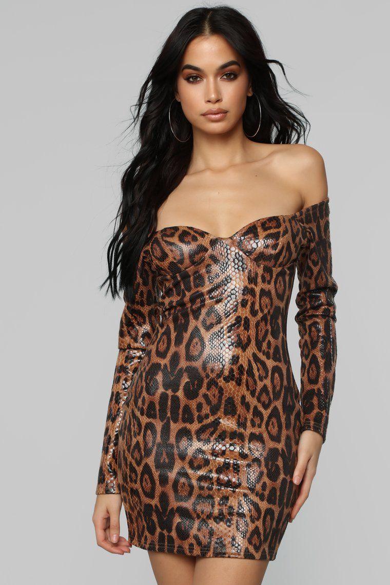Call Of the Night Leopard Mini Dress Brown in 2020