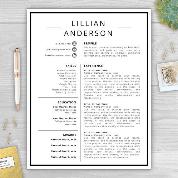 Lillian Anderson Is A Professional Resume Template Perfect For