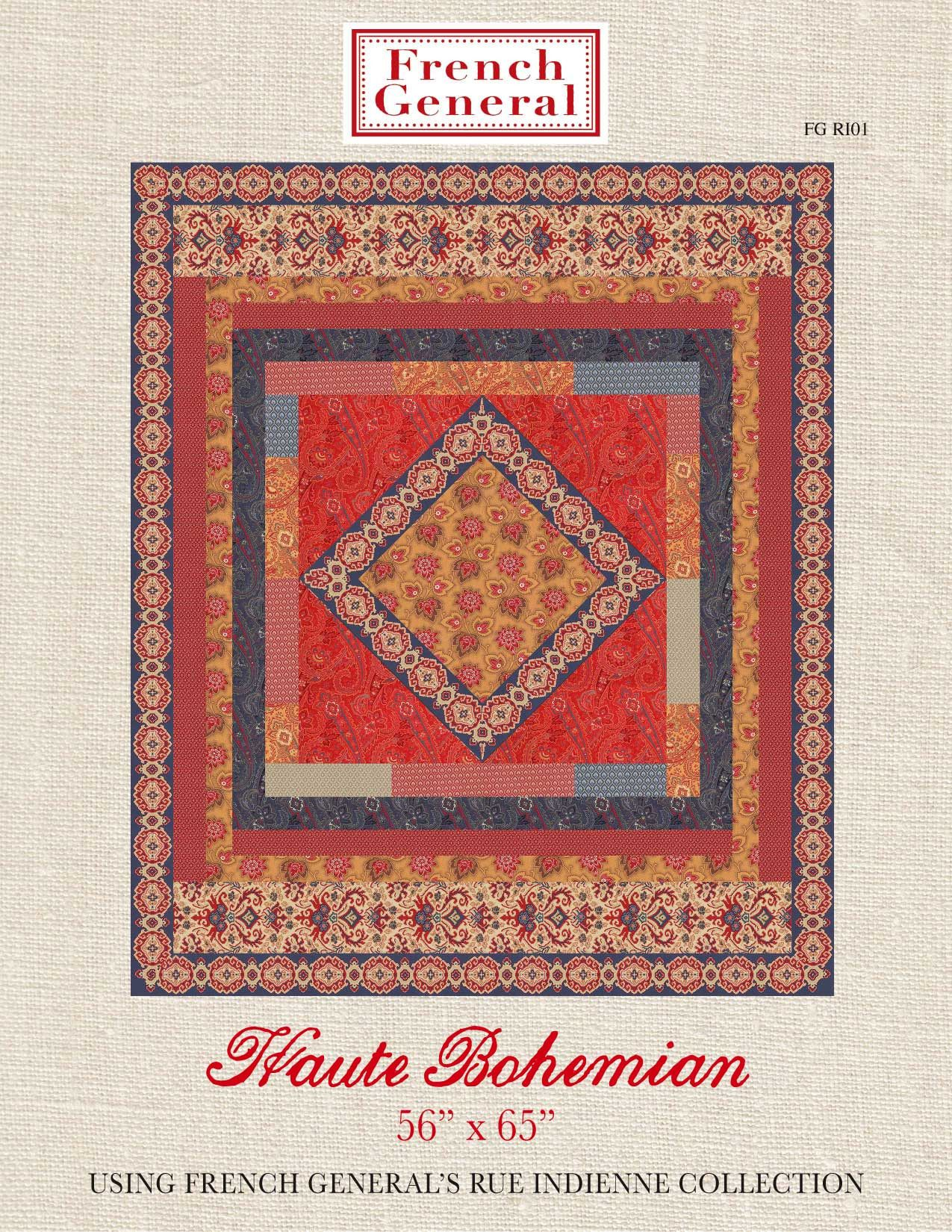 Rue Indienne  Haute Bohemian Quilt Pattern is part of Bohemian pattern, Bohemian quilt, Quilt patterns, Quilts, Haute bohemian, Bohemian - A beautiful classic quilt pattern designed by the French General design team  Size 56  x 65