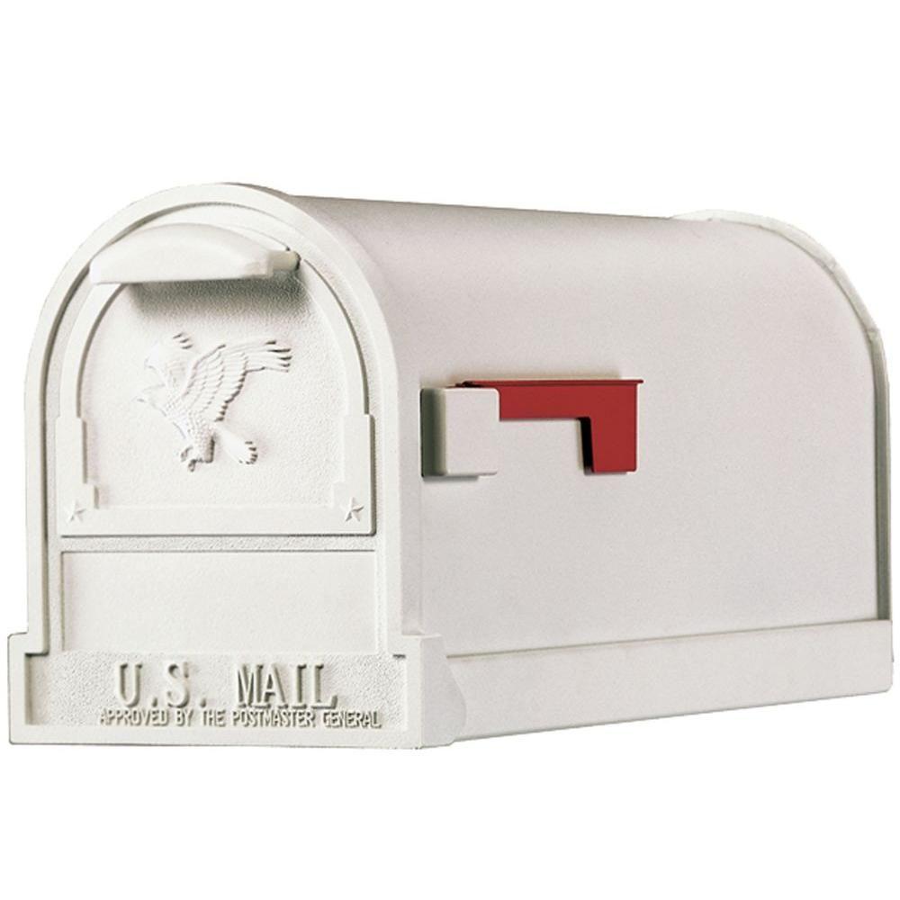Gibraltar Mailboxes Arlington Premium White Steel Post Mount