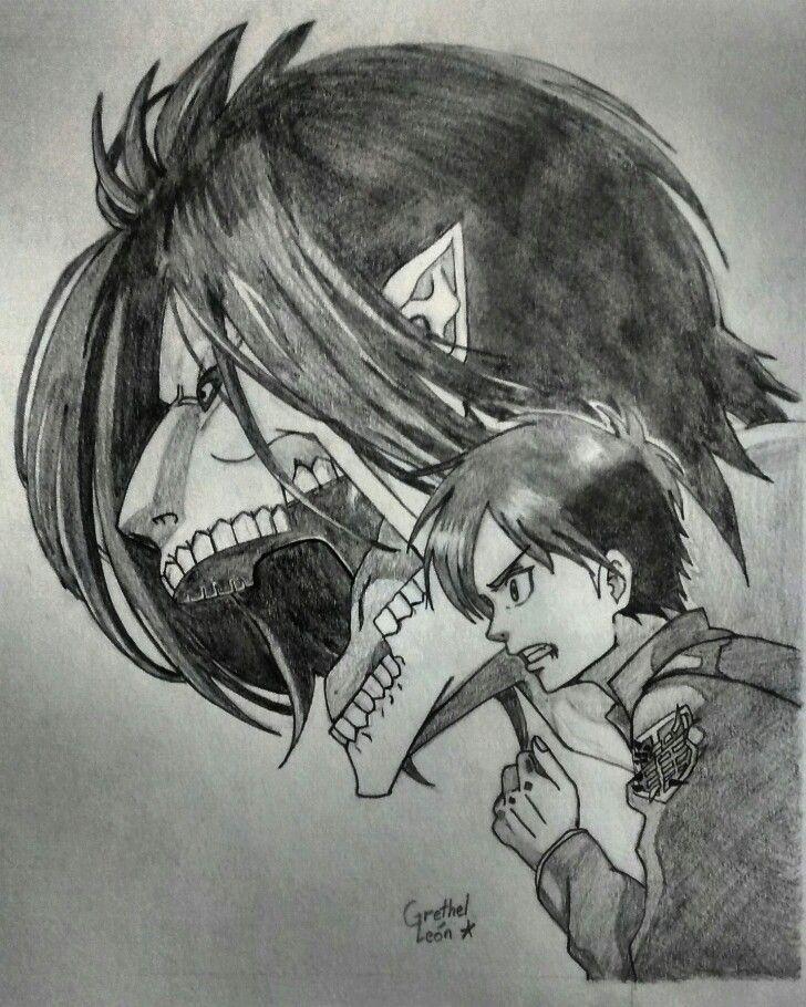 Eren Jaeger Y Su Titan De Shingeki No Kyojin Dibujo A Lápiz Www