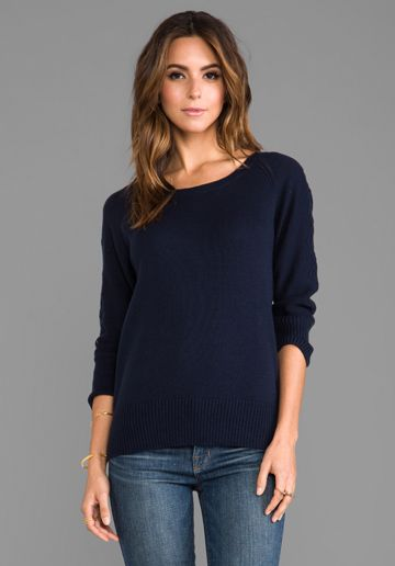 LA Made Cable Dolman Sleeve Sweater in Navy