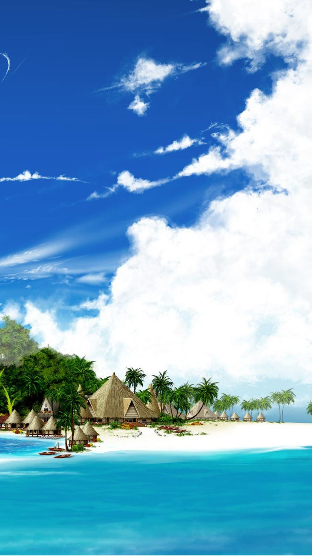 tropical beach resort illustration android wallpaper
