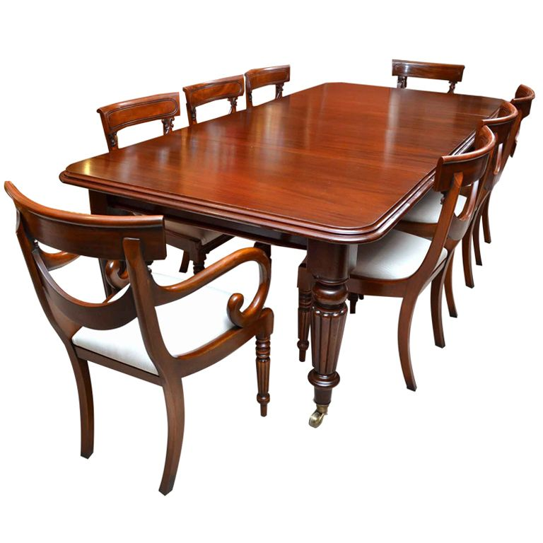 Antique Victorian 8 Ft Mahogany Dining Table 8 Chairs Mahogany