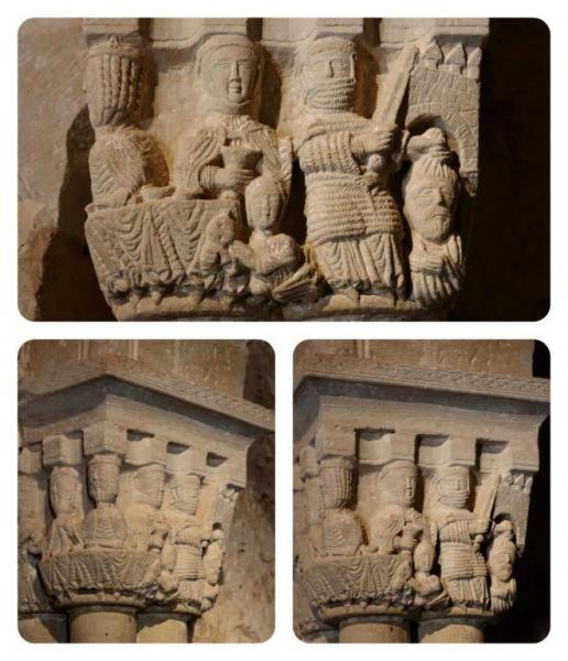 Capitel de la iglesia de San Juan de Duero - Degollación de San Bautista y banquete de Herodes #románico #capiteles #soria