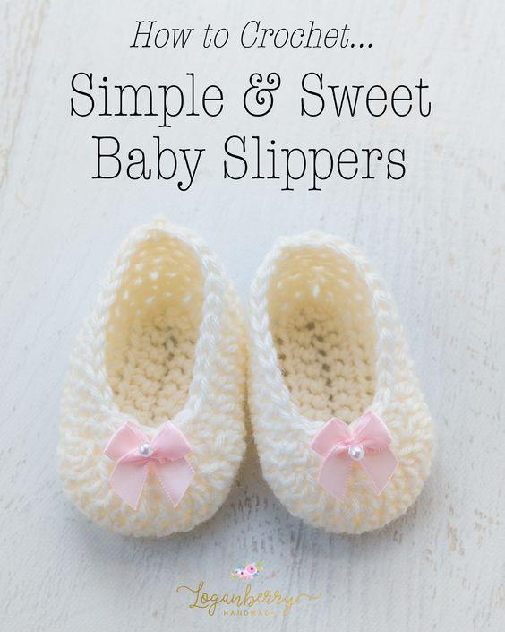 ac1f8becdebe4 Crochet Baby Slippers + Free Pattern, crochet baby shoes, crochet ...