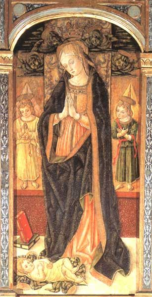 """Vittore Crivelli - Trittico di Cupra """"Madonna adorante il bambino, tra San Basso e San Sebastiano"""", dettaglio - 1485 - Cupramarittima, Chiesa parrocchiale di San Basso"""