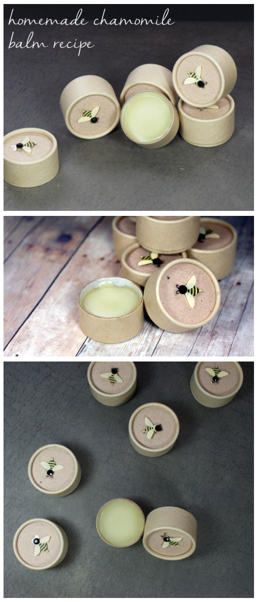 This simple homemade chamomile balm recipe is simply divine. Made using healing chamomile infused olive oil, this homemade chamomile balm recipe is perfect for hands, feet, body and even lips! Packaged in eco-friendly cardboard jars, these make lovely homemade gifts!