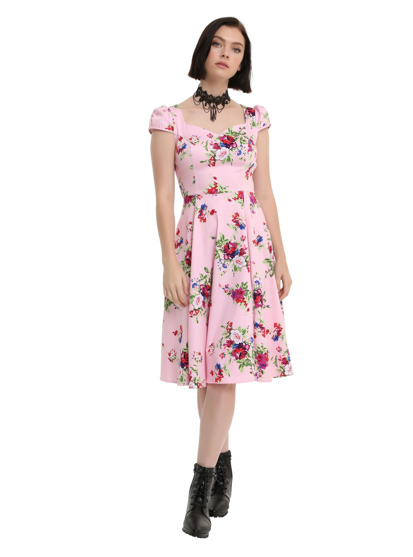 1514a95bf5 Pink vintage hot topic floral swing dress