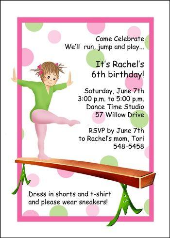 girl gymnastic birthday party invites kids children birthday