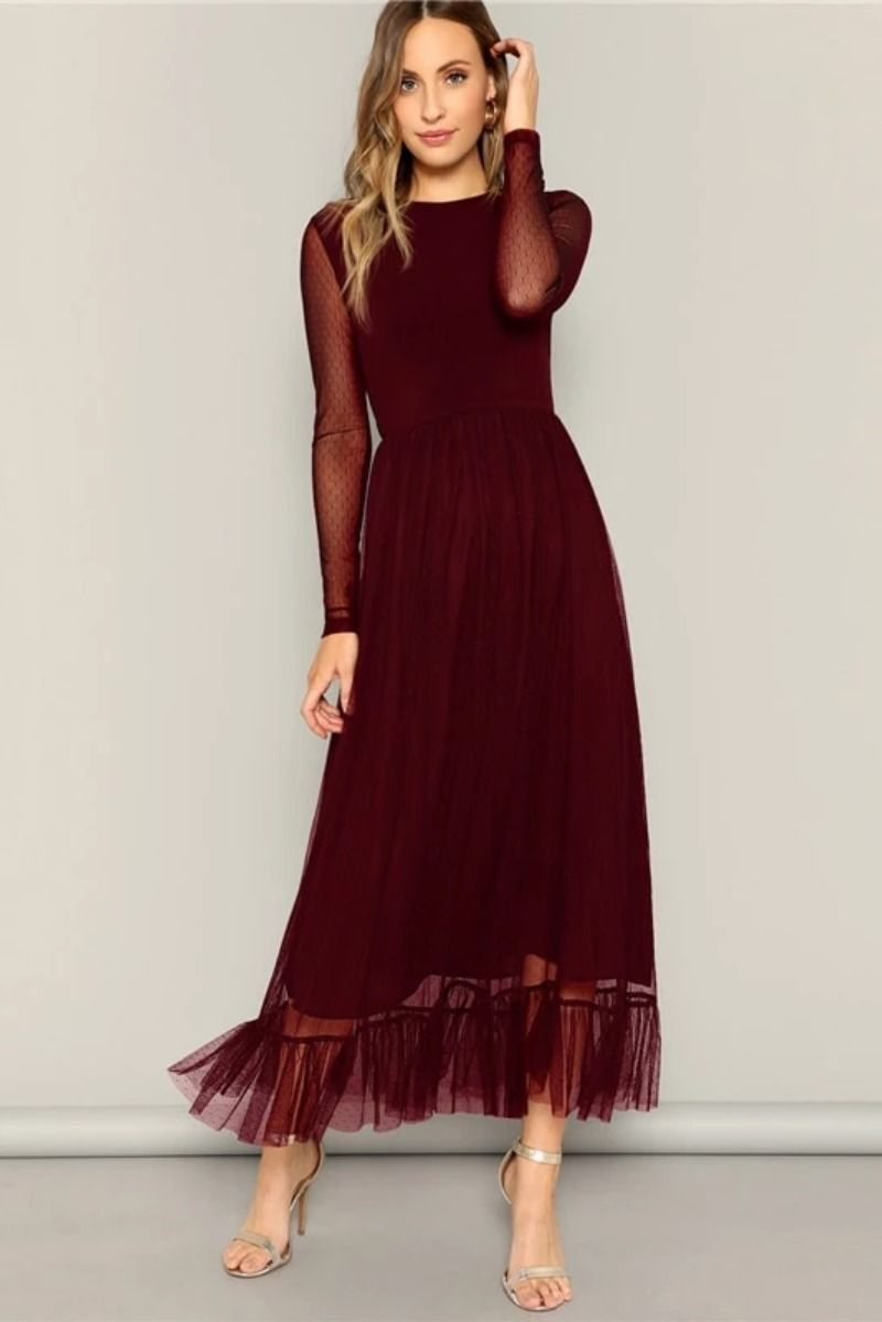 Fit and flare mesh overlay ruffle hem dress women casual