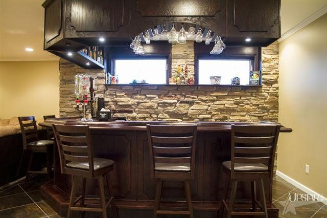 Stone Backsplash For Basement Bar Rustic Basement Bar Bar Room