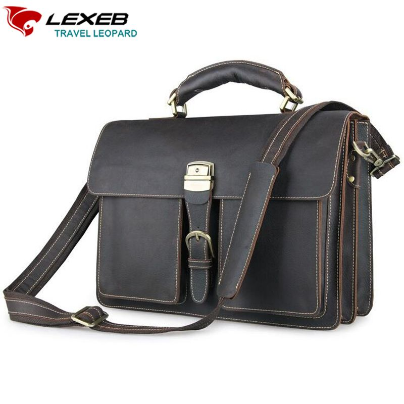 7ab431670f classic office handbag vintage genuine leather briefcases messenger bag  large capacity business portfolio also bob qiu