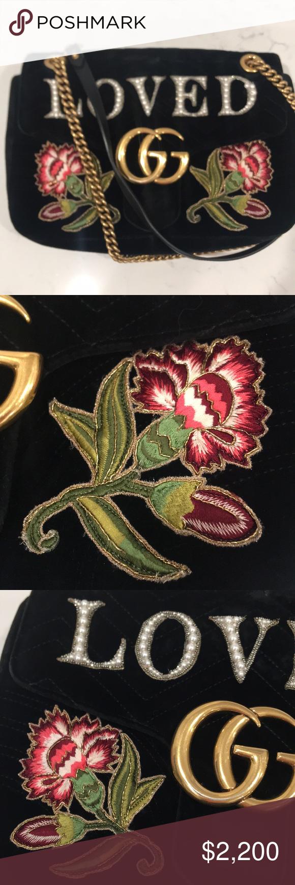 Gucci Gg Marmont Embroidered Velvet Loved Bag Embroidered Velvet Gucci