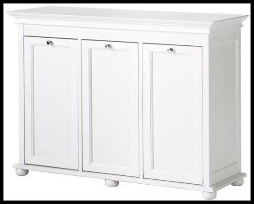 Furniture, Triple Tilt Out Laundry Hamper: The Practical Linen Cabinet With  Hamper Options