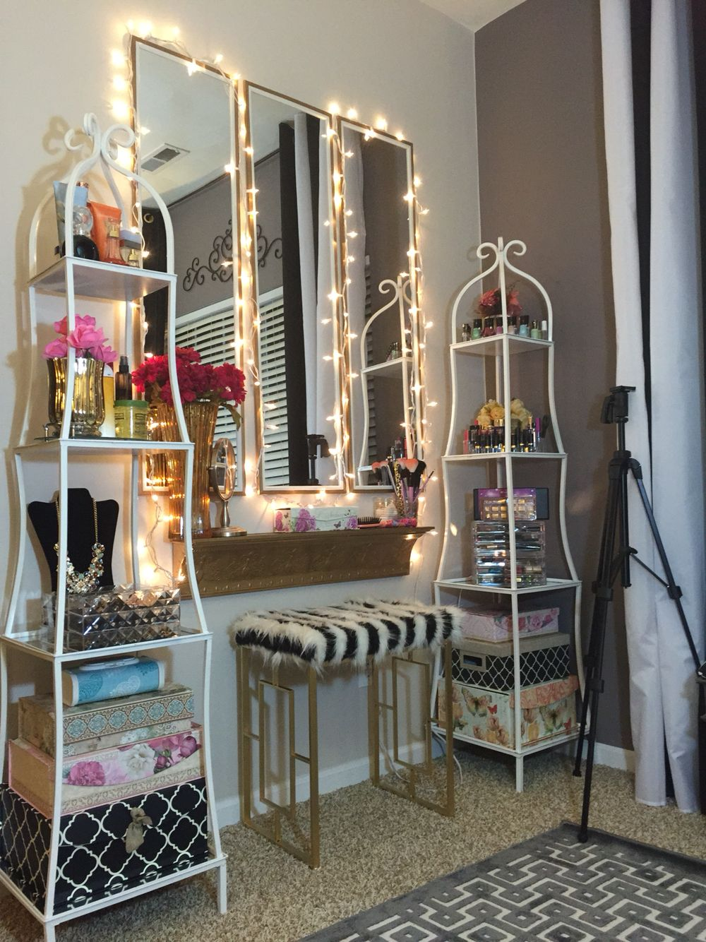 Makeup Vanity Area...Glamorous Home Office/ Beauty Room...Watch