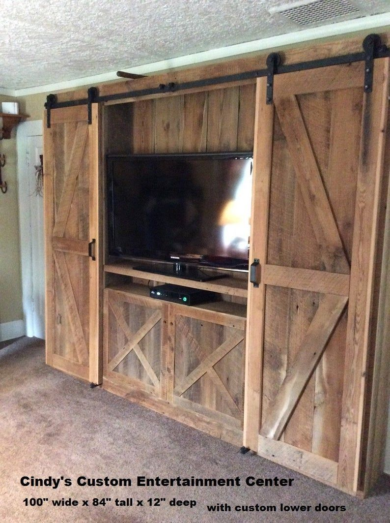 Entertainment Center Made Of Reclaimed Rustic Pine Barn Wood Etsy In 2020 Barn Door Entertainment Center Barn Doors Sliding Interior Barn Doors
