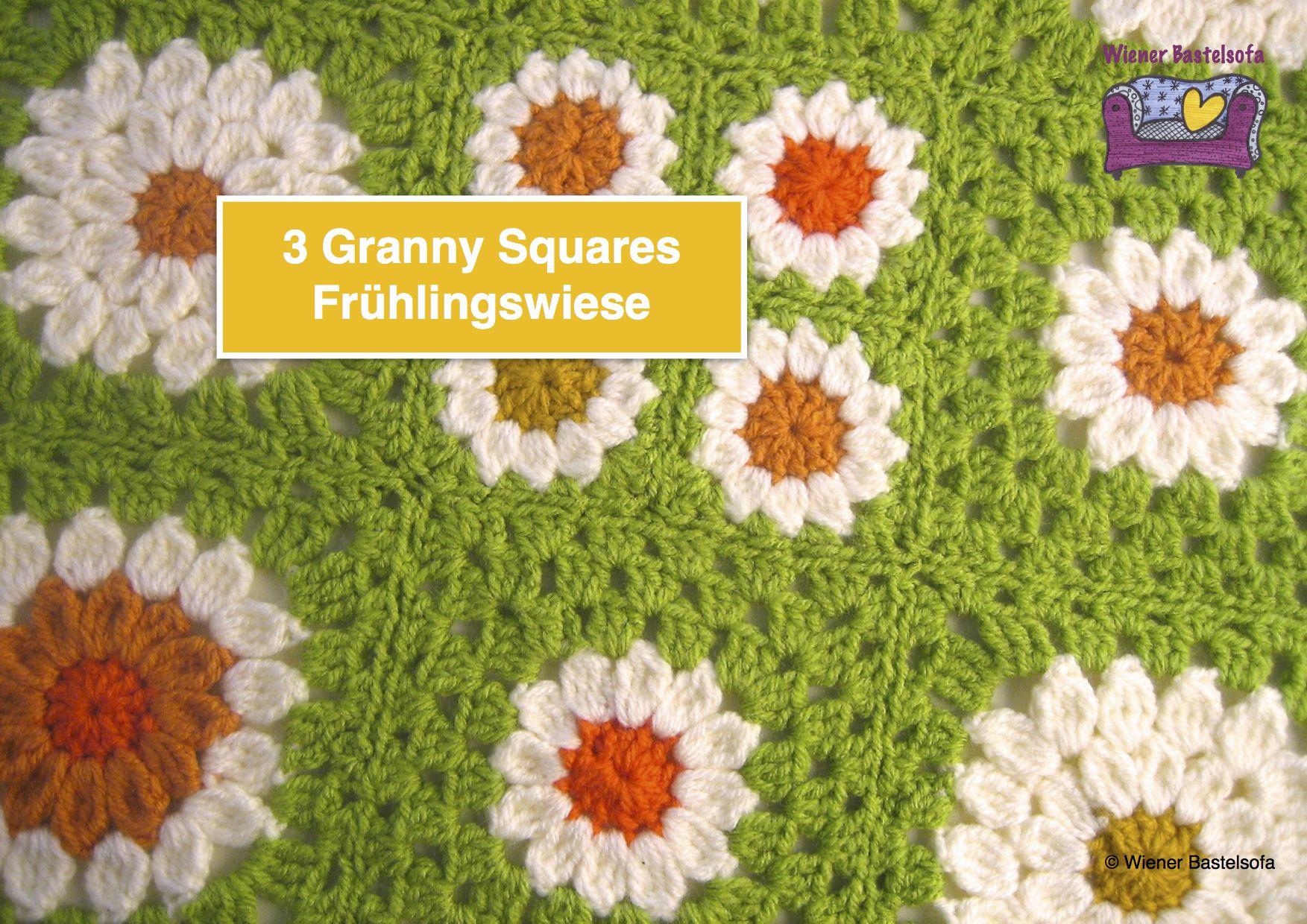 Anleitung 3 Granny Squares Frühlingswiese Häkeln Hippie Blume