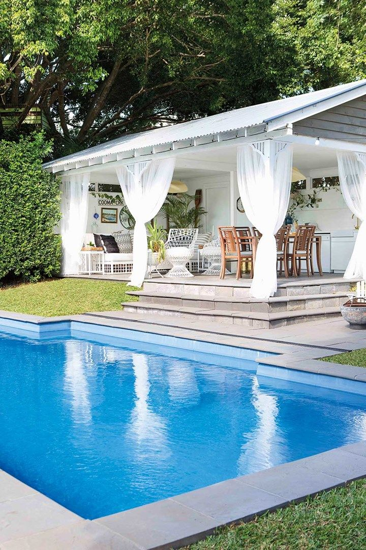 Before & After: Goodbye backyard shed, hello pool cabana ... on Small Pool Cabana Ideas id=47986