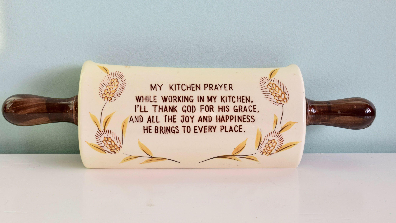 Vintage Ceramic Wall Pocket Vintage Rolling Pin Vintage Religious