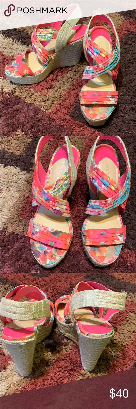 dc68f2a29e3f Actually comfy wedges. Mainly pink with flowers. 6 inch heel. Size 10.  Small mark (noted in pic). Gianni Bini Shoes Wedges