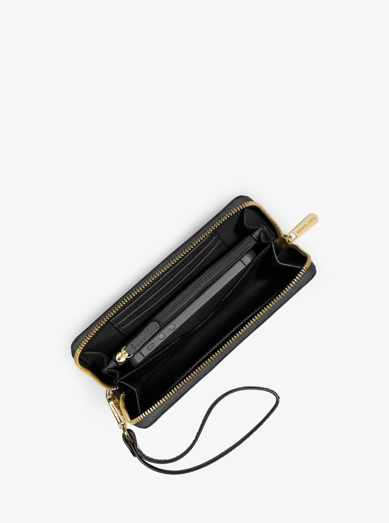 3b03d4e81f9a Online Michael Kors Black Jet Set Travel Large Smartphone Wristlet Stockist