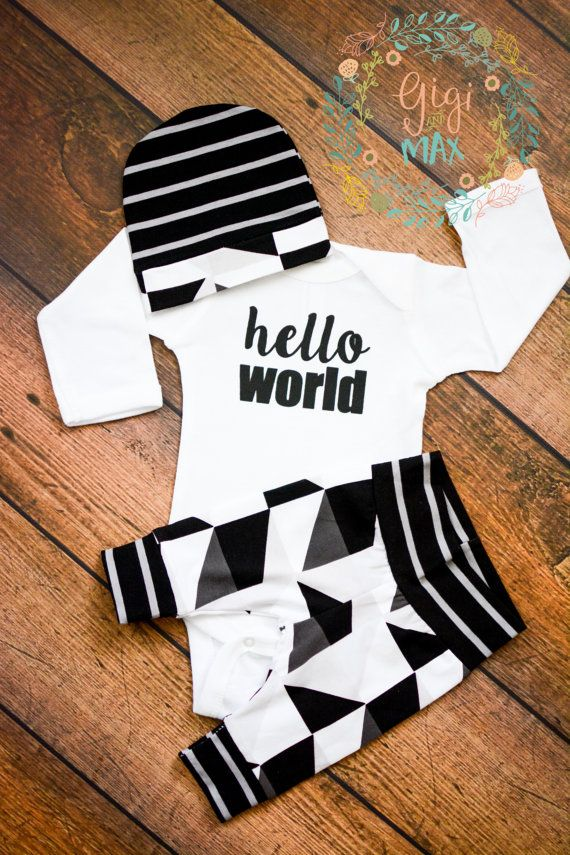 089292dbb Newborn Baby coming home outfit Hello World black and gray triangle ...