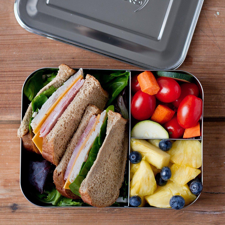 LunchBots - Bento Trio Brotdose mit 3 Fächern, Edelstahl: Amazon.de: Küche & Haushalt #bentoboxlunch