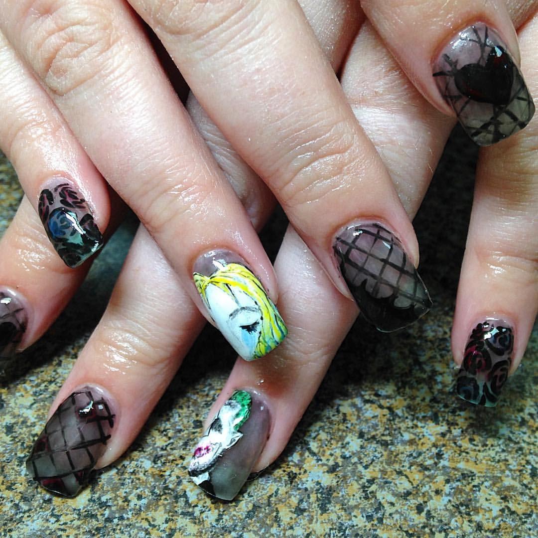 Joker harlequin harley Quinn acrylic nails gel polish nail art | My ...